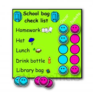 Magnetic school bag check list