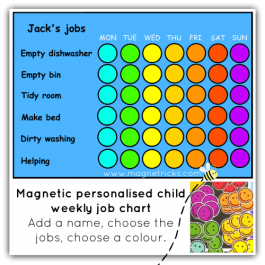 Child's weekly magnetic job chart